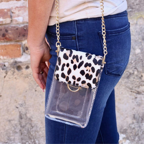 Caroline Hill: Sideline Clear Cell Phone Holder Ivory Leopard