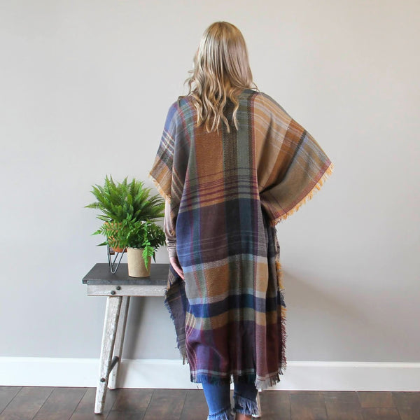 Plaid Fringed Blanket Wrap