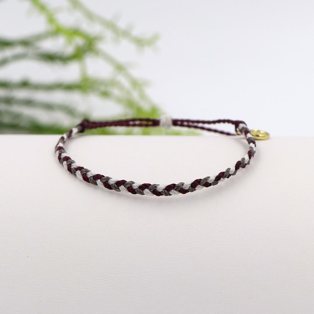 Pura Vida Custom Mini Braided Bracelet Maroon and White