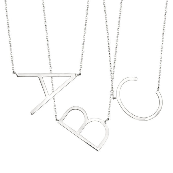 CAI Large Sideways Initial Necklaces Silver