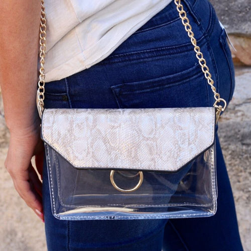 Caroline Hill: Tailgate Clear Crossbody Snake Metallic Sand