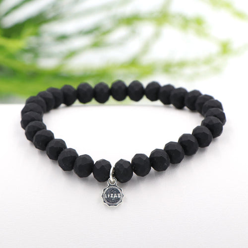Lizas 8mm Crystal Bracelet: Matte Black