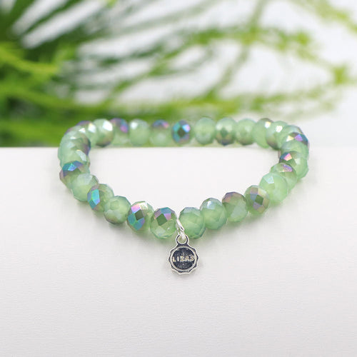 Lizas 8mm Crystal Bracelet: Amazon Green