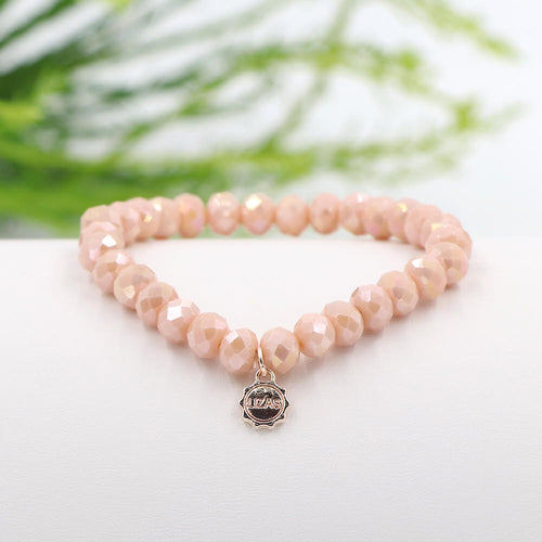 Lizas 8mm Crystal Bracelet: Blushing Nude