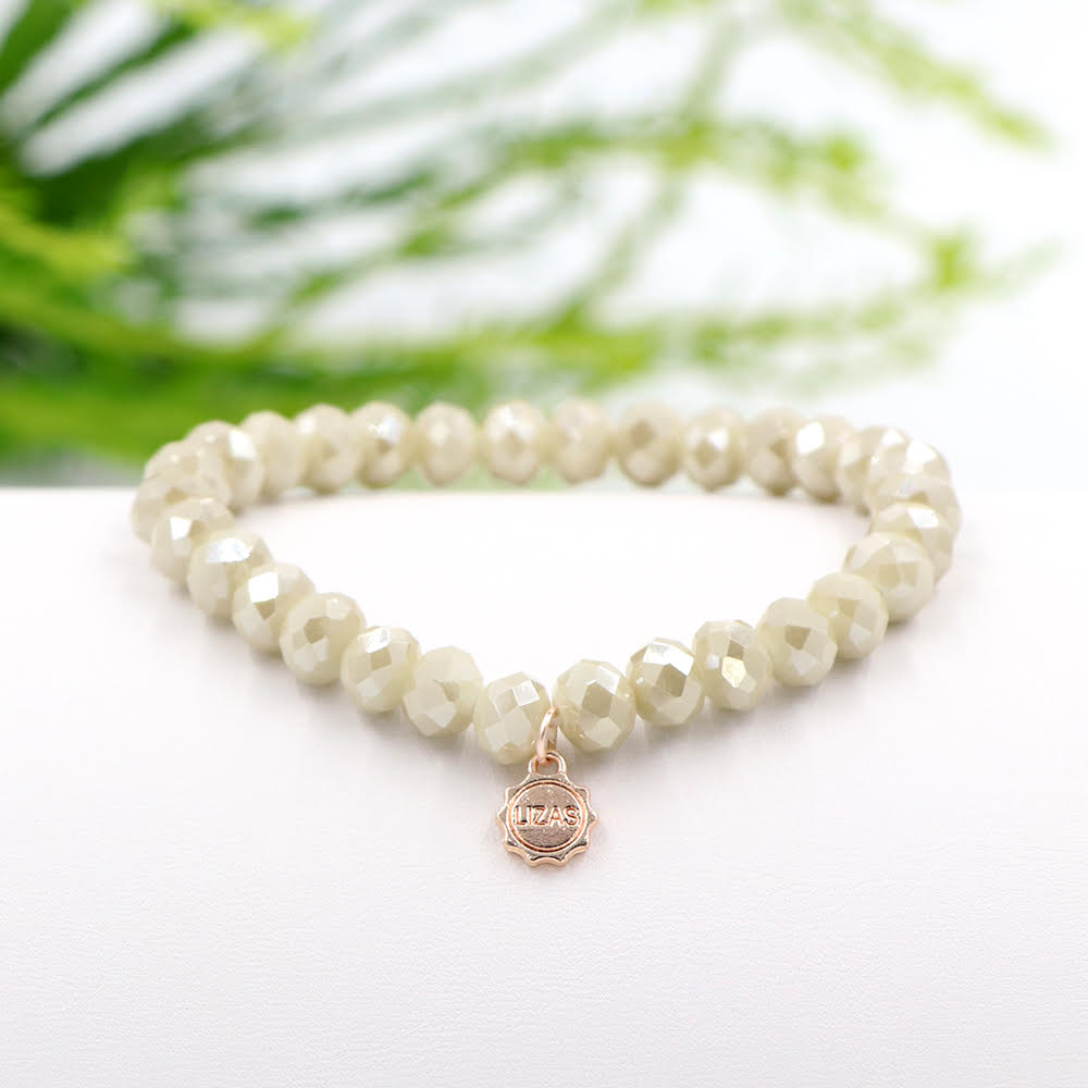 Lizas 8mm Crystal Bracelet: Cream Shimmer