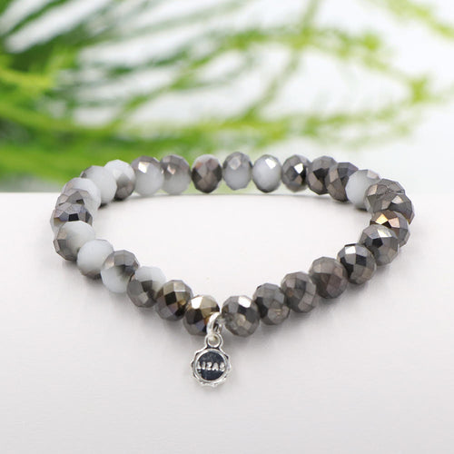 Lizas 8mm Crystal Bracelet: Gray Medley