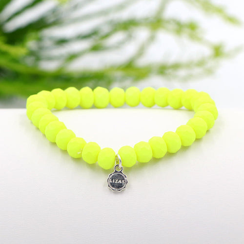 Lizas 8mm Crystal Bracelet: Neon Yellow