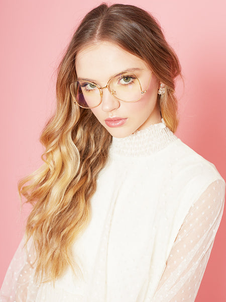 Dahlia 1970's Large Frame Clear Lens Glasses with Ball Arms