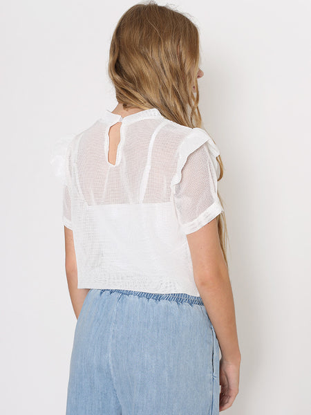 Dahlia Alice White Netted Top with Flower Embroidery and Frill Shoulder
