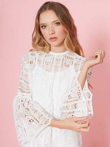 Alyssa White Pretty Lace Dress with Fluted Sleeve