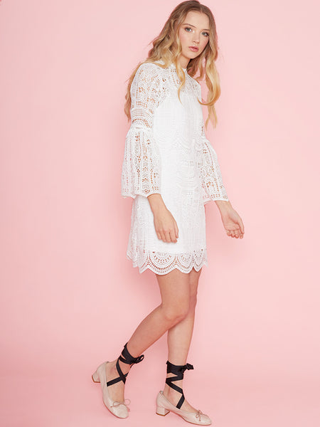 Dahlia Alyssa White Pretty Lace Dress with Fluted Sleeve