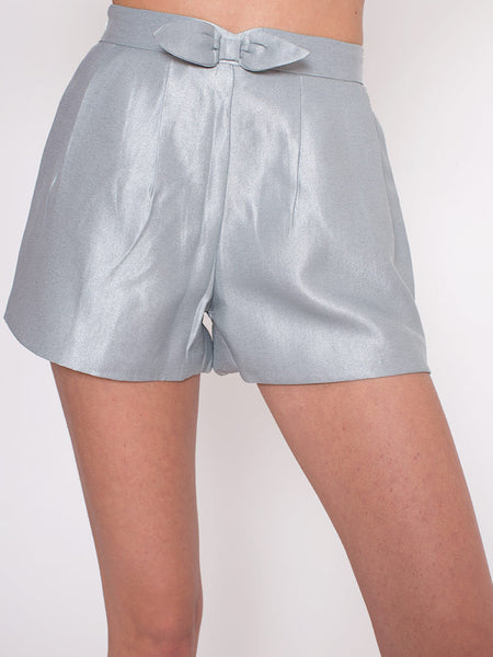 Dahlia Annette Grey Glitter Shorts with Bow at Waist Band