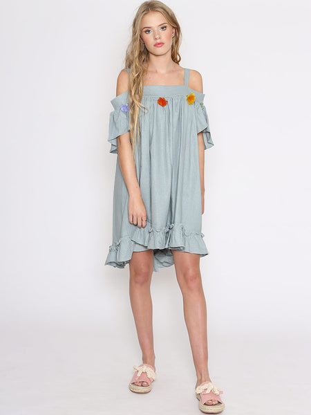 Dahlia Aria Blue Dress with Colourful Tassels and Dipped Hem