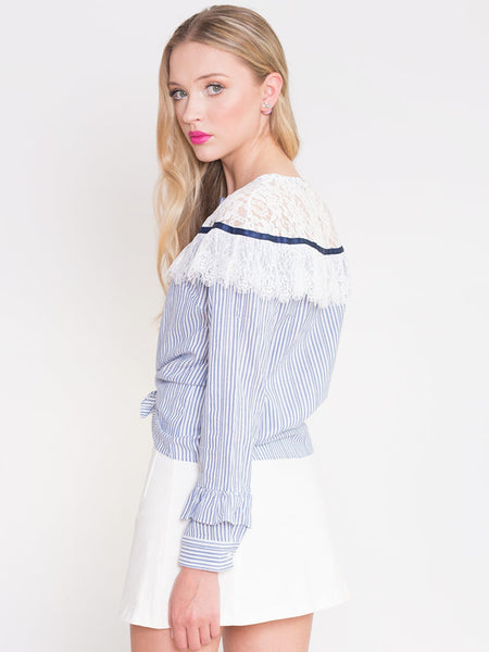 Dahlia Autumn Lace Yolk Striped Blouse with Frill Detail On Sleeve