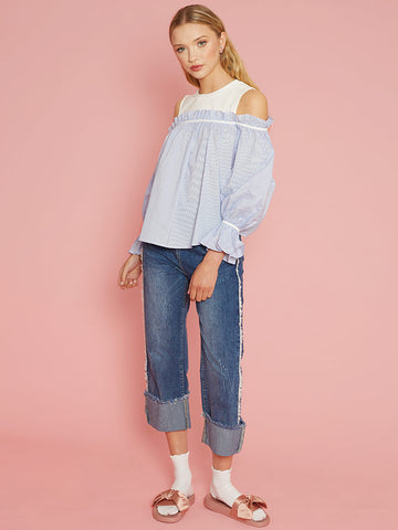 Bella Blue Stripe Cold Shoulder Top with Full Shape and White Yolk