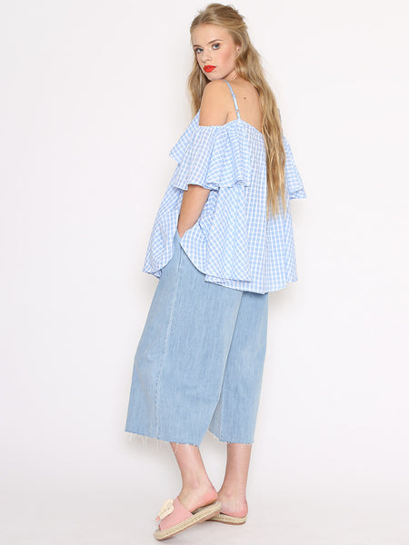 Dahlia Charlie Blue Gingham Check Off The Shoulder Full Top
