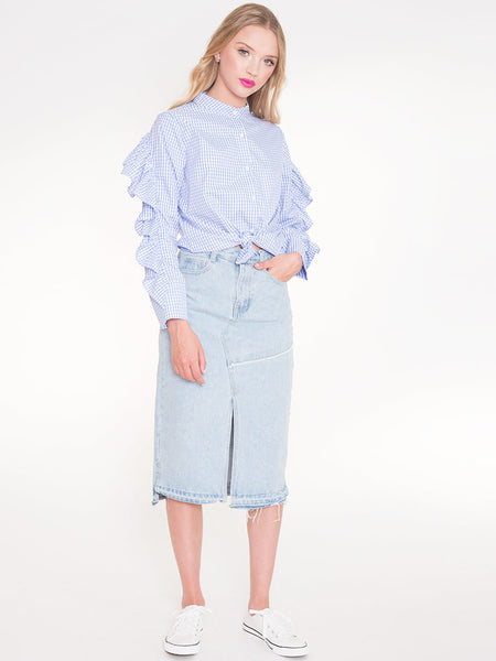 Dahlia Dion Blue Gingham Long Sleeved Shirt with Frill At Back