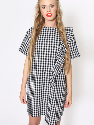 Eden Black Gingham Shift Dress with Frill and Ribbon Tie Detail