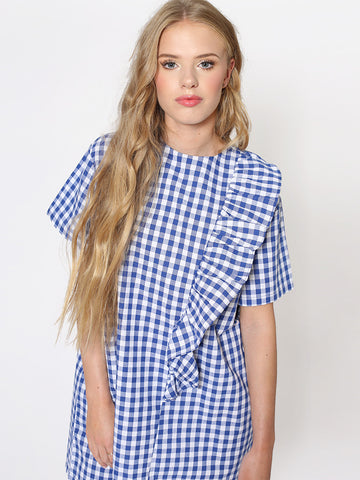 Eden Blue Gingham Shift Dress with Frill and Ribbon Tie Detail
