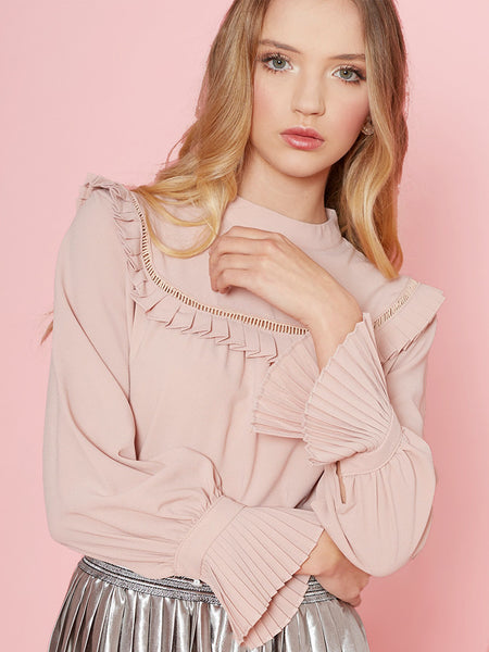 Dahlia Erin Pink Blouse with Fagotting and Frill Bib Trim