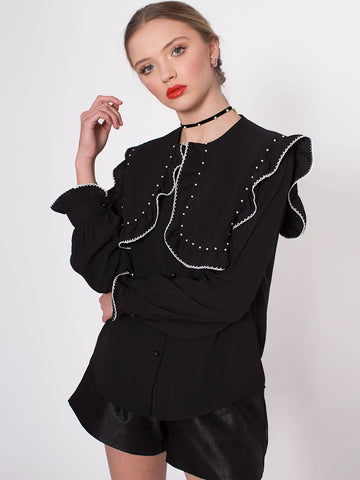 Helga Black Blouse with Contrast Bead and Bib Detail