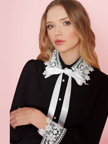 Holly Black Blouse with Contrast Lace Collar and Cuffs