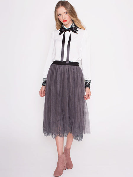 Dahlia Kelsey Grey Mesh Long Skirt with Lace Hem and Elasticated Waist