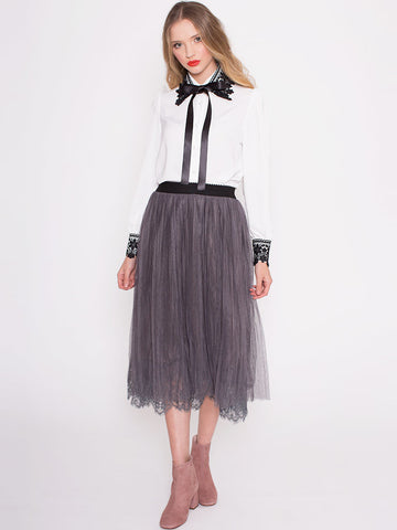 Kelsey Grey Mesh Long Skirt with Lace Hem and Elasticated Waist