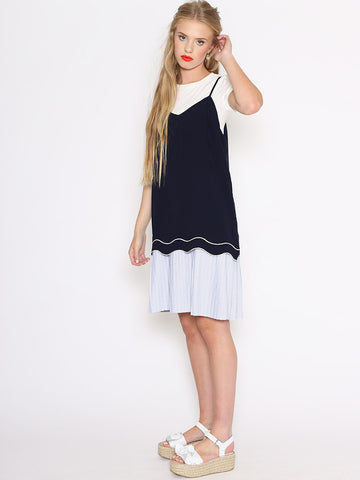 Isla Two in One Shift Dress with T-Shirt and Striped Skirt