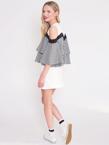 Dahlia Janelle Black and White Gingham Cold Shoulder Top