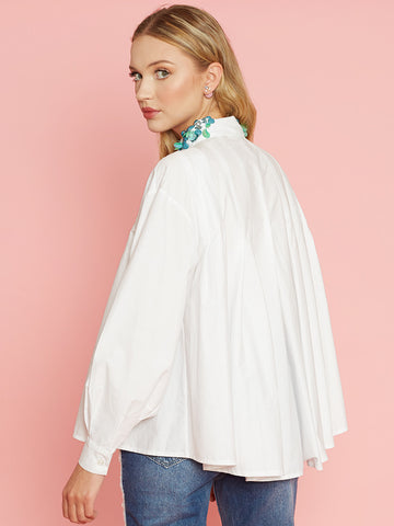 Jane White Pleated Flared Shirt with Beaded Collar