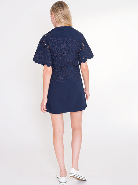 Dahlia Joni Navy Shift Dress with Decorative Embroidered Flowers