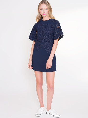Joni Navy Shift Dress with Decorative Embroidered Flowers