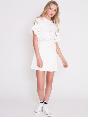 Joni White Shift Dress with Decorative Embroidered Flowers