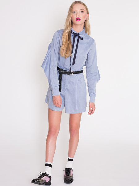 Dahlia Joy Blue Playsuit with Open Back and Frill Detail