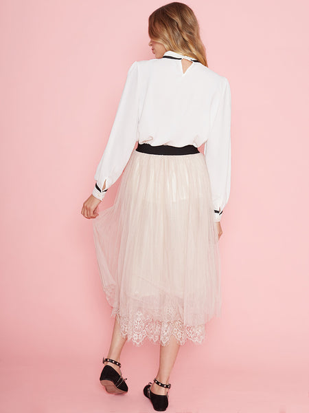 Dahlia Kelsey Pink Mesh Long Skirt with Lace Hem and Elasticated Waist