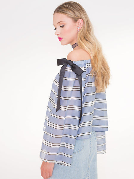 Dahlia Leonie Off Shoulder Striped Top with Tied Ribbon Details