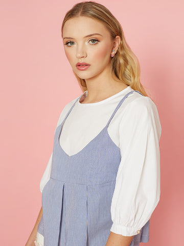 Lois Two in One Top with White Top and Stripe Vest