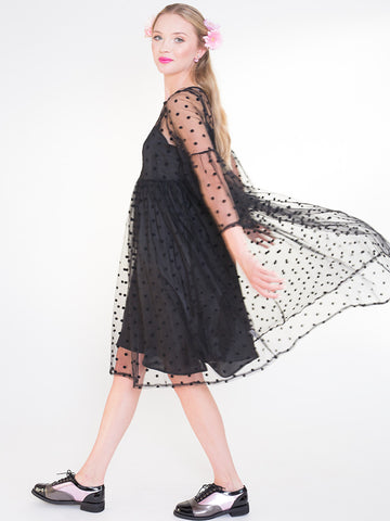 Lisa Black Oversized See Through Spotty Dress with Slip Dress Lining