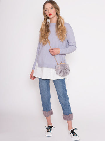 Lucy Lavender Two in One Jumper with White Under Blouse