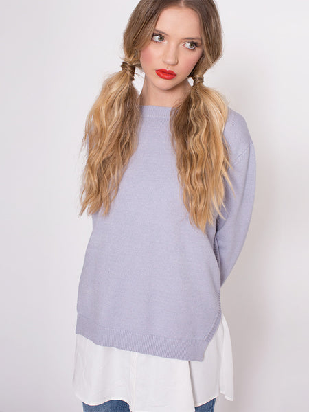 Dahlia Lucy Lavender Two in One Jumper with White Under Blouse