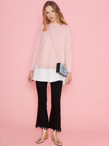 Lucy Pink Two in One Jumper with White Under Blouse