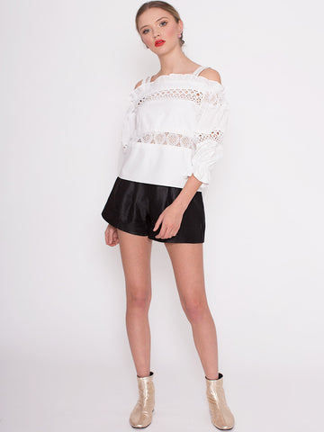 Meg White Broderie Lace Detail Off Shoulder Top