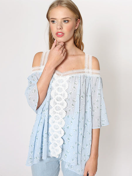 Dahlia Mila Blue Ditsy Flower Chiffon cold Shoulder Top with Lace Straps