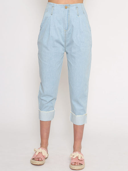 Dahlia Nats Soft Cotton Denim Carrot Shaped Cropped Trousers