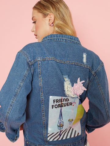 Oleta Blue Denim Jacket with Sequin Bumble Bee & Flower Patches