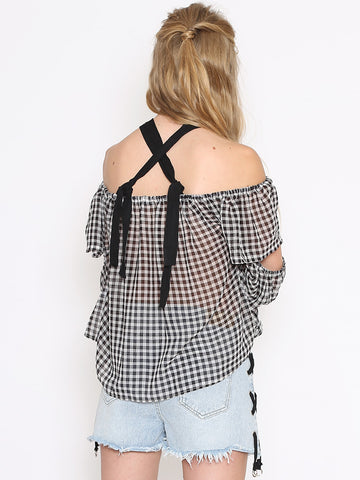 Paige Black Gingham Chiffon Top with Tie Shoulders and Draped Sleeves
