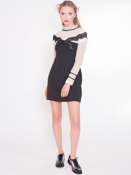 Dahlia Patti Black Dress with Frill Front Trim and Spot Lace Sleeves