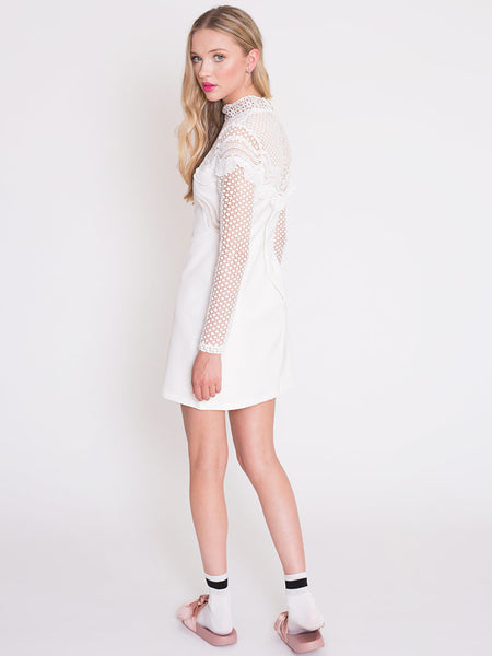 Dahlia Patti White Dress with Frill Front Trim and Spot Lace Sleeves