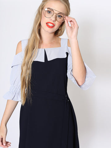 Ruby Navy Belted Shift Dress with Striped Sleeve and Shoulder Straps
